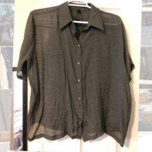 Sheer Dark Olive short Sleeve Button Up Blouse